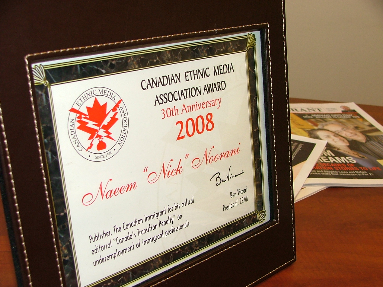 Canadian Ethnic Media award for best editorial