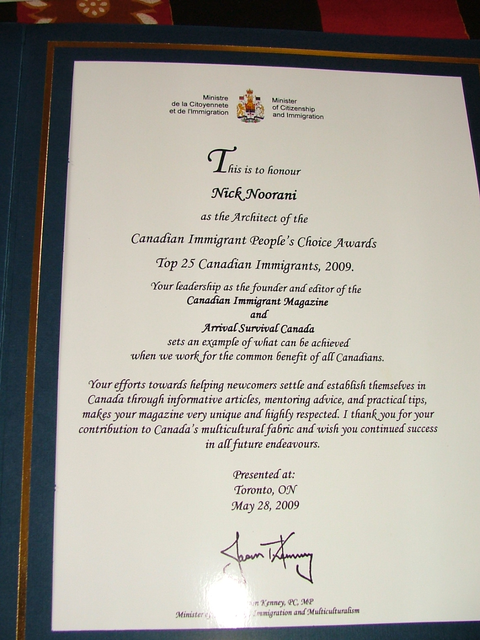Recognition from Immigration Minister